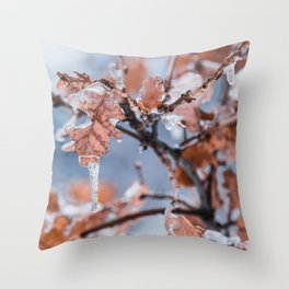 Winter Photography - Ice Hanging From Leaves Throw Pillow