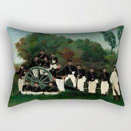 """Henri Rousseau """"The Artillerymen"""", 1893 Rectangular Pillow"""