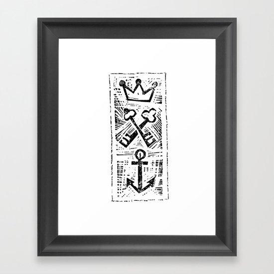 Crown Key & Anchor Framed Art Print