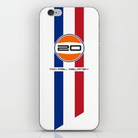 steve mcqueen iPhone & iPod Skins featuring MICHAEL DELANEY  aka Steve McQueen - LeMans Livery by Michele Leonello