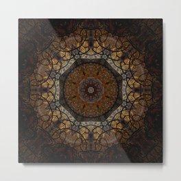 Rich Brown and Gold Textured Mandala Art Metal Print