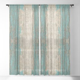 Rustic Wood - Weathered Wooden Plank - Beautiful knotty wood weathered turquoise paint Sheer Curtain
