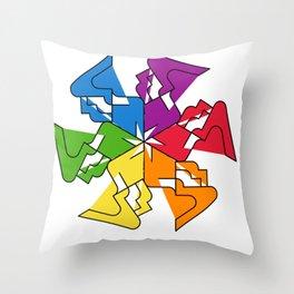 #rainbow #snowflake Throw Pillow