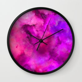Abstract Pour Art - Pink and Purple Wall Clock