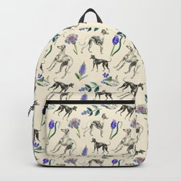 GREYHOUND DOGS & PRESSED FLOWERS Backpack