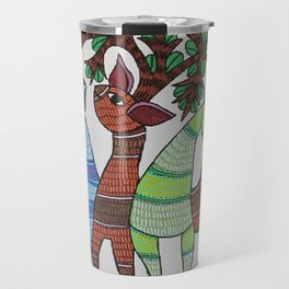 Gond painting - Deer Travel Mug