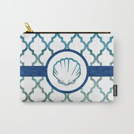 Clam Shell: Tropical Water Moroccan Pattern Carry-All Pouch