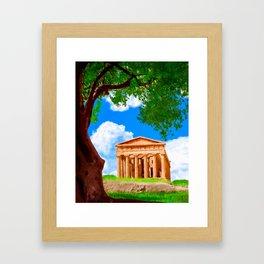 Ancient Greek Temple Ruins At Agrigento Framed Art Print