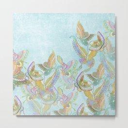 Butterflies on Turquoise Watercolor:  Rainbow butterflies, Chinese design Metal Print