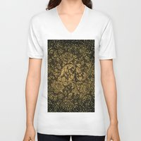 damask V-neck T-shirts featuring Decorative damask by nicky2342