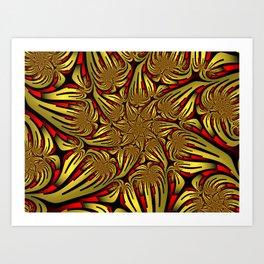 Golden and Red, Modern Fractal Art Design Art Print