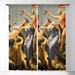The Fruited Plain, Achelous and Hercules Mural Panel 3 landscape painting by Thomas Hart Benton Blackout Curtain