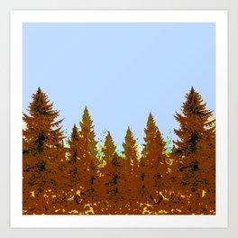 DECORATIVE BROWN-OCHER COLORED FOREST Art Print