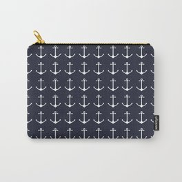 Nautical navy blue white modern anchor pattern Carry-All Pouch