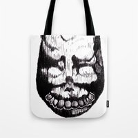 donnie darko Tote Bags featuring Donnie Darko Frank by Froleyboy