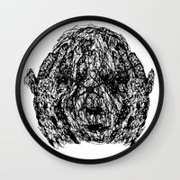 anxiety Wall Clocks featuring Anxiety by Ryan Bussard
