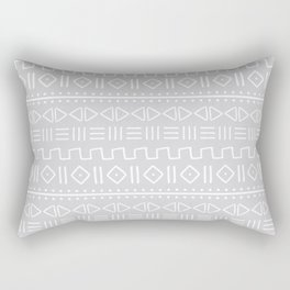 mudcloth white on grey Rectangular Pillow