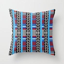 Black Blue Etnic Throw Pillow