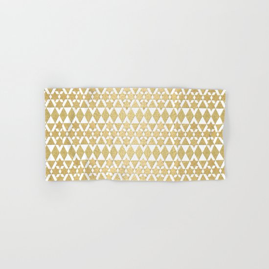 White and Gold Geometric Pattern 4 Hand & Bath Towel