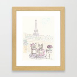 French Bulldogs and Tea in Paris with Eiffel Tower View Framed Art Print