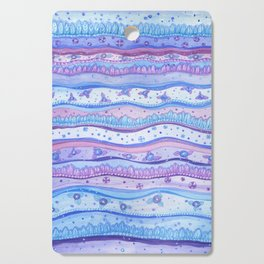 Pink And Blue Stripes Rose Quartz And Serenity Forest Cutting Board