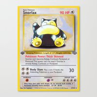 snorlax Canvas Prints featuring Snorlax Card by Neon Monsters