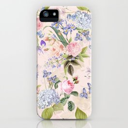 Vintage & Shabby Chic - Pink Redouté Roses Bouquets Pattern iPhone Case