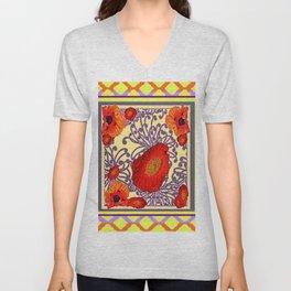 Lemon Caramel Trellis Pattern Poppy Flowers Art Unisex V-Neck