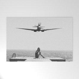 Steady As She Goes; aircraft coming in for an island landing black and white photography- photographs Welcome Mat