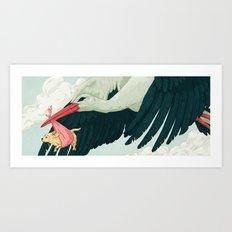 Puppy and Stork Art Print
