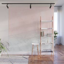 Blush Pink on Gray and White Marble II Wall Mural