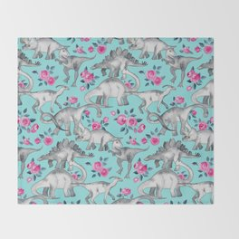 Dinosaurs and Roses - turquoise blue Throw Blanket