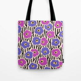 Mid Century Modern Wild Flowers Pattern Pink and Purple Tote Bag