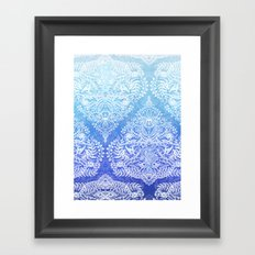 Out of the Blue - White Lace Doodle in Ombre Aqua and Cobalt Framed Art Print