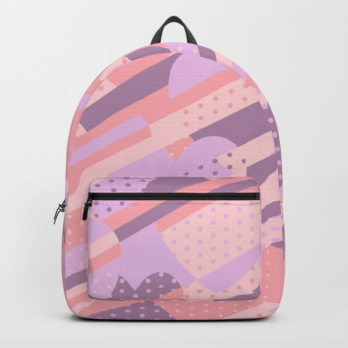 Sweet Heart Pattern (Pastel Coral Pink, Lavender) Backpack