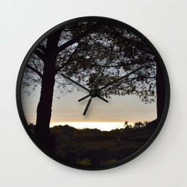 Golden Peach Glowing Ocean Unfiltered Seascape With Tree Silhouettes Wall Clock