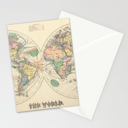 Vintage Map of The World (1872) Stationery Cards