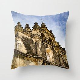 View of the Top of the Catholic Church Iglesia La Merced, Granada, Nicaragua Throw Pillow