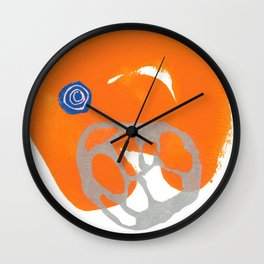Direct Line IV - collage in orange, silver and blue Wall Clock