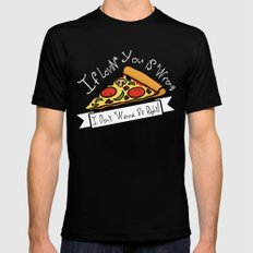 True Love  |  Pizza LARGE Black Mens Fitted Tee