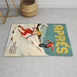 """""""Apres"""" Retro Pinup Ski Art Rug"""