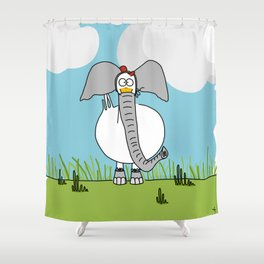 Eglantine la Poule (the hen) dressed up as an elephant Shower Curtain