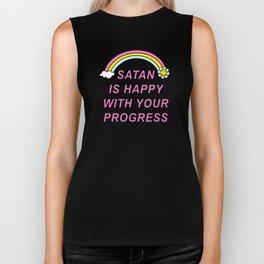 Satan is Happy with your Progress Biker Tank