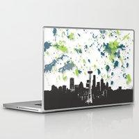 seahawks Laptop & iPad Skins featuring Seahawks Seattle Skyline by Blythe Green