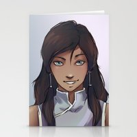 the legend of korra Stationery Cards featuring Korra by Lotuschai