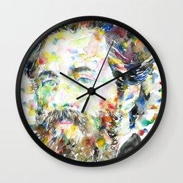 HERMAN MELVILLE - watercolor portrait.1 Wall Clock