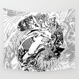 Sea Animals Surreal Doodle Art Wall Tapestry