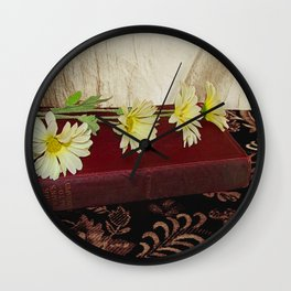 Daisy Flowers on Red Book Library Art A223 Wall Clock