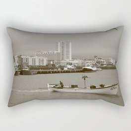 Small boat in the bay Rectangular Pillow