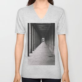 Arcade with columns in Copenhagen, architecture black and white photography Unisex V-Neck